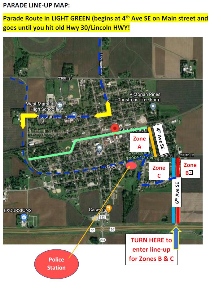 Parade Lineup Map 2021